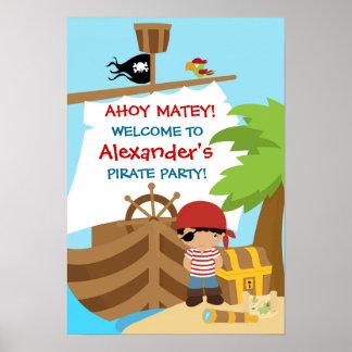 Affisch för födelsedagsfest för piratfraktpojke poster