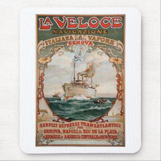 Affisch för frakt för LaVeloce ånga Musmatta