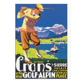 Affisch för GolfAlpin vintage resor Vykort
