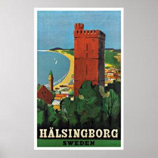 Affisch för Helsingborg sverigevintage resor Poster