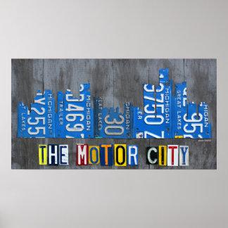 Affisch för horisont för Detroit motorisk