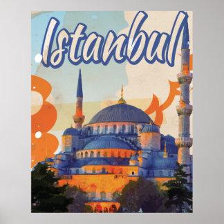 Affisch för Istanbul Aya Sophia moskévintage resor