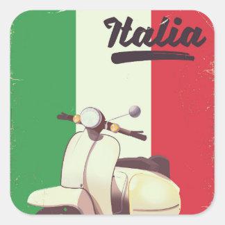 Affisch för Italia sparkcykelvintage resor Fyrkantigt Klistermärke