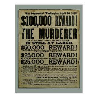 Affisch för John Wilkes båsLincoln mord Vykort
