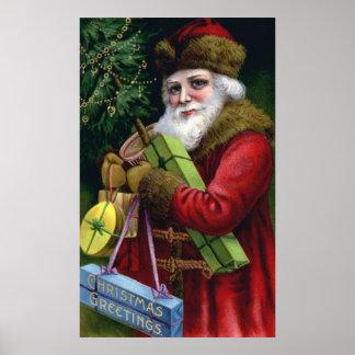 Affisch för jul för jultomten för gammal värld för poster
