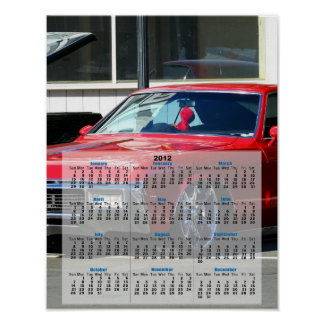 Affisch för kalender för bil 2012 för klassiker rö poster