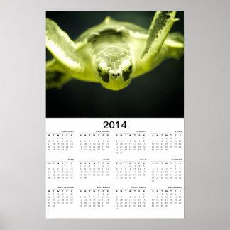 Affisch för kalender för havssköldpadda 2014