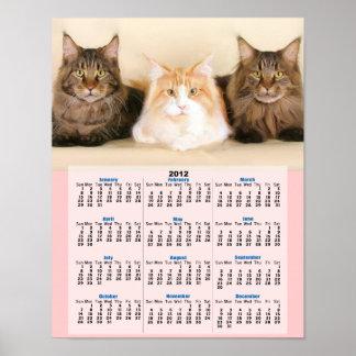 Affisch för kalender för Maine coonkatter 2012 Poster