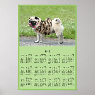 Affisch för kalender för mopshund 2013 poster