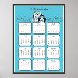 Affisch för kalender för vinterugglor 2012 poster