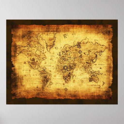 Affisch för karta för gammal värld för Artyvintage