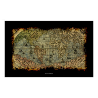 Affisch för karta för gammal värld för Artyvintage Poster