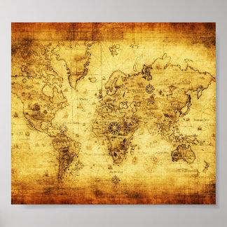 Affisch för karta för gammal värld för vintage
