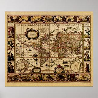 Affisch för karta för gammal värld för vintage poster