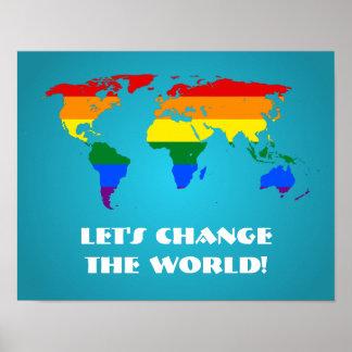 Affisch för karta för värld för LGBT-regnbågepride
