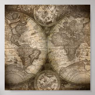 Affisch för karta för vintagevärldskartbok poster