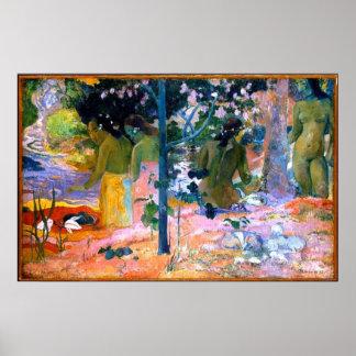 affisch för konst för badarePaul Gauguin målning Poster