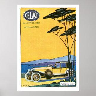 Affisch för konst för Delage Le Voiture Bil annons