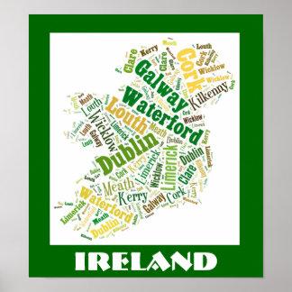 Affisch för konst för Irland Silhouetteord