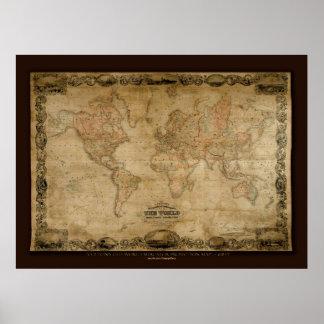 Affisch för konst för karta för gammal värld för C Poster