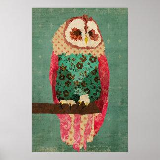 Affisch för konst för turkos för vintageRosa uggla