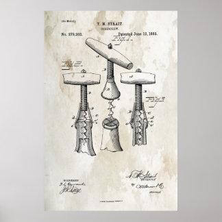 Affisch för korkskruvpatenttryck 1883