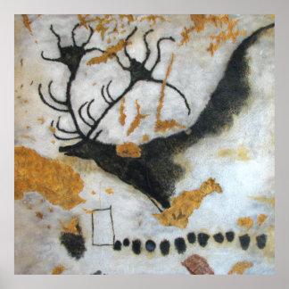 Affisch för Lascaux Megaloceros grottamålning