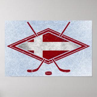 Affisch för logotyp för danskaishockeyflagga poster