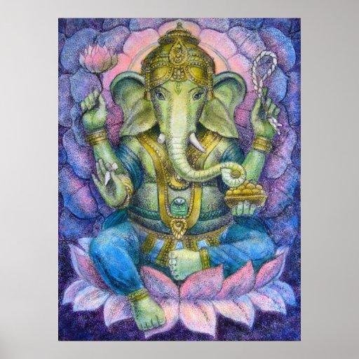 Affisch f r lotusblommaganesha hinduisk konst - Idee schilderij gang ingang ...