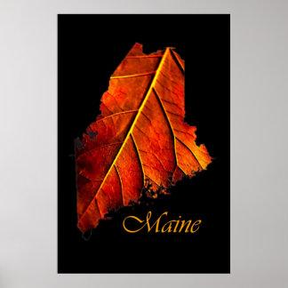 Affisch för lövverk för nedgång för Maine affische