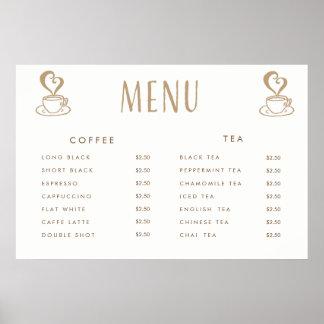 Affisch för meny för Cafekafeteriapris utskrivaven Poster