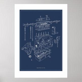 Affisch för motor för triumf TR4A schematisk -