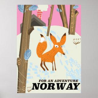Affisch för norgerävvintage resor poster