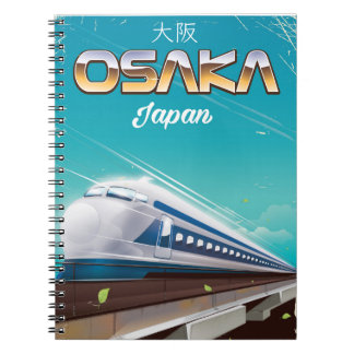 Affisch för Osaka Japan tågvintage resor Anteckningsbok Med Spiral