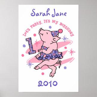 Affisch för Piggy 1st födelsedag för Tutu beställn Poster