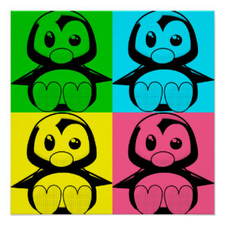 Affisch för pingvin för Tux för popkonst lite
