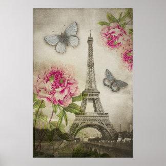 Affisch för pioner för vintageParis Eiffel torn Poster