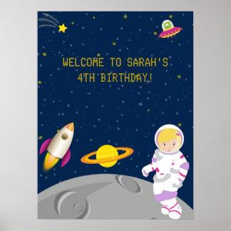 Affisch för rymdenastronautfödelsedag poster