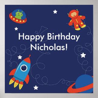 Affisch för rymdenpersonligfödelsedag poster
