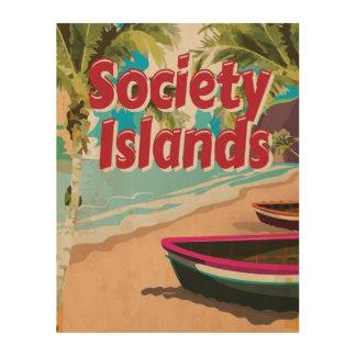 Affisch för semester för samhälleövintage trätavla