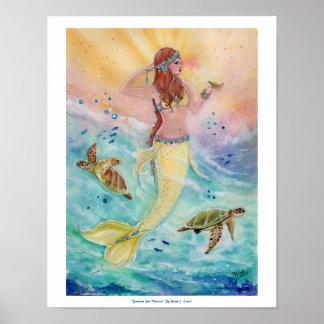 Affisch för solskenhavssjöjungfru av Renee Lavoie