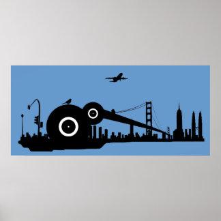 Affisch för Sparrowstadsflygplan - blått