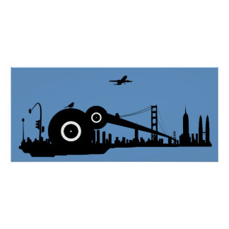 Affisch för Sparrowstadsflygplan - blått Poster