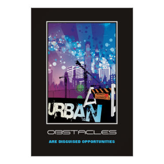 Affisch för stads- hinder för stadsbyggnader motiv