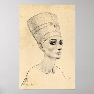 Affisch för struktur för papyrus för Nefertiti