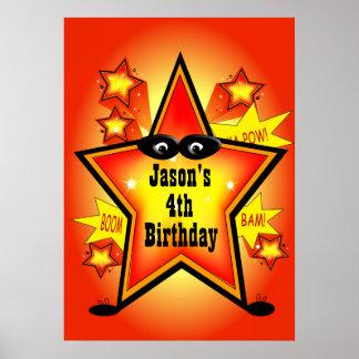 Affisch för Superherostjärnabarns födelsedag