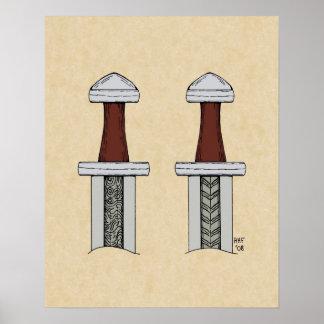 Affisch för svetsning för Viking svärdmönster Poster