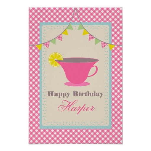 Affisch för Teapartyfödelsedag - rosa Gingham
