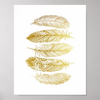 Affisch för tryck för guld- fjädrar för Faux stam- Poster