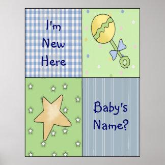 Affisch för tryck för konst för ankomst för babyte poster